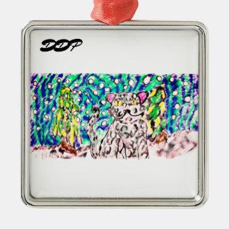 Snow Leopard winter art Metal Ornament