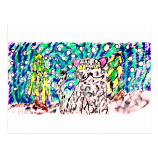 Snow Leopard winter art Postcard