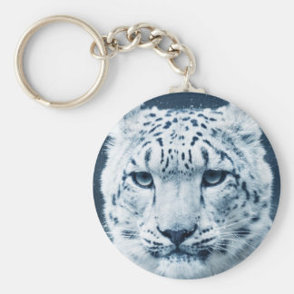 Snow Leopard Winter Snow Wildcat Nature Basic Round Button Key Ring