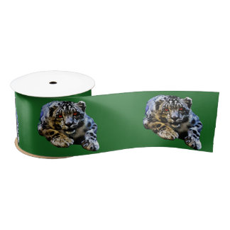 Snow Leopard With Red Eyes Drawing Satin Ribbon