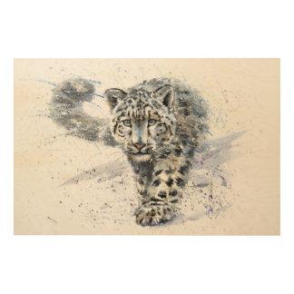 Snow leopard wood wall decor
