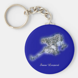 Snow Leopards Basic Round Button Key Ring