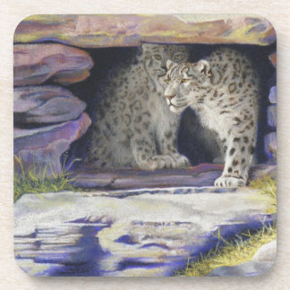 snow leopards drink coasters