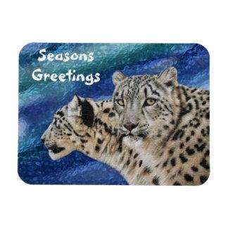 Snow Leopards Seasons Greetings Premium Magnet