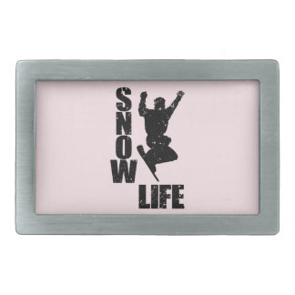 SNOW LIFE #3 (blk) Rectangular Belt Buckles