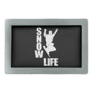 SNOW LIFE #3 (wht) Rectangular Belt Buckles