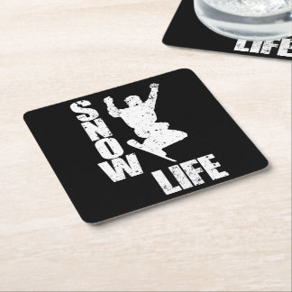 SNOW LIFE #3 (wht) Square Paper Coaster