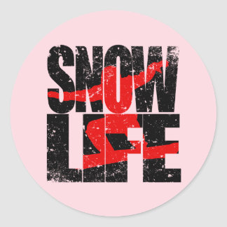 SNOW LIFE red boarder (blk) Classic Round Sticker