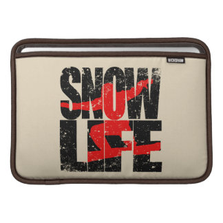 SNOW LIFE red boarder (blk) MacBook Sleeve