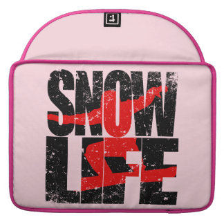 SNOW LIFE red boarder (blk) Sleeve For MacBooks