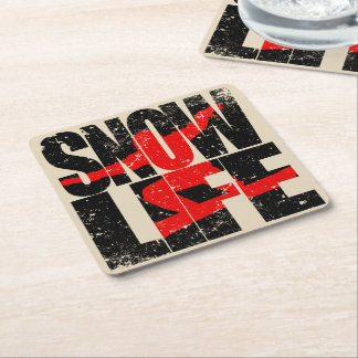 SNOW LIFE red boarder (blk) Square Paper Coaster