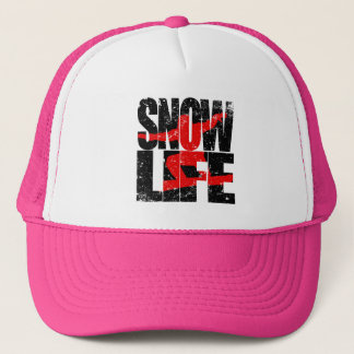 SNOW LIFE red boarder (blk) Trucker Hat