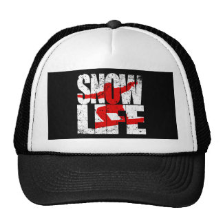 SNOW LIFE red boarder (wht) Cap
