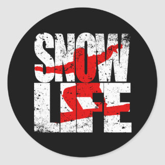 SNOW LIFE red boarder (wht) Classic Round Sticker