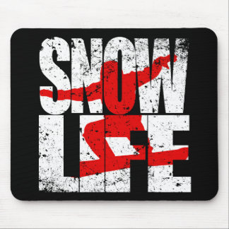 SNOW LIFE red boarder (wht) Mouse Pad