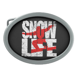 SNOW LIFE red boarder (wht) Oval Belt Buckles