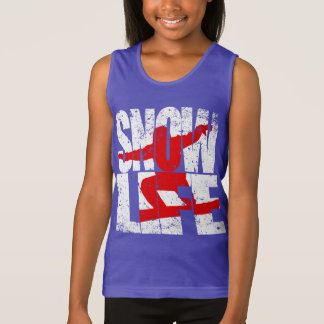 SNOW LIFE red boarder (wht) Singlet