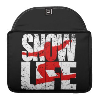 SNOW LIFE red boarder (wht) Sleeve For MacBooks