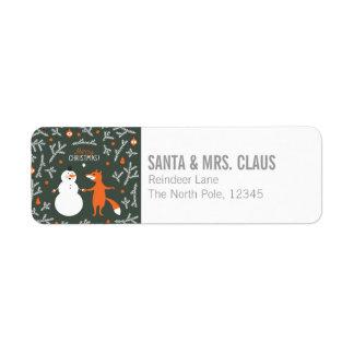 Snow Man And Fox Dancing Return Address Label