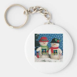 snow man basic round button key ring