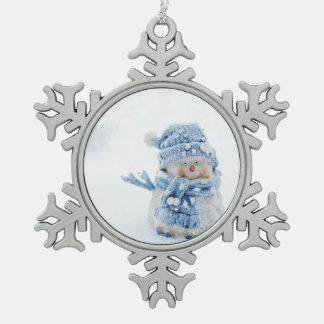 Snow Man Ornanment Snowflake Pewter Christmas Ornament