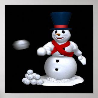 Snow Man Snow Fight Poster