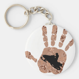 SNOW MOBILE WOODS BASIC ROUND BUTTON KEY RING