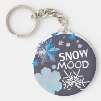 Snow Mood Basic Round Button Key Ring
