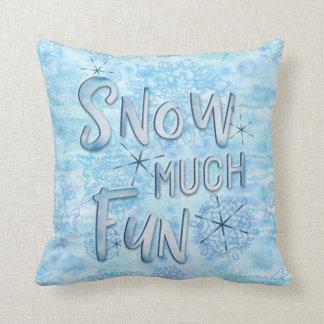 Snow Much Fun Watercolor Snowflakes Cushion