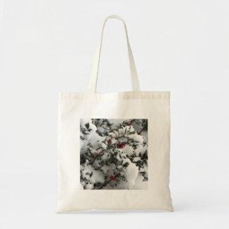 Snow on a holly bush bag