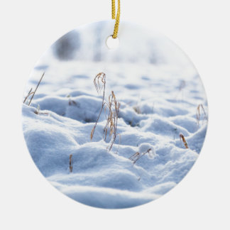 Snow on a meadow in winter macro ceramic ornament