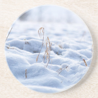 Snow on a meadow in winter macro coaster