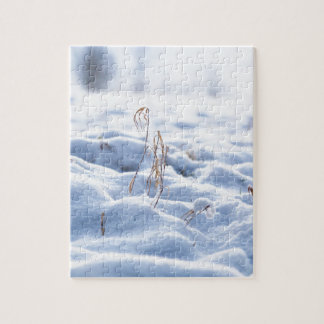 Snow on a meadow in winter macro jigsaw puzzle