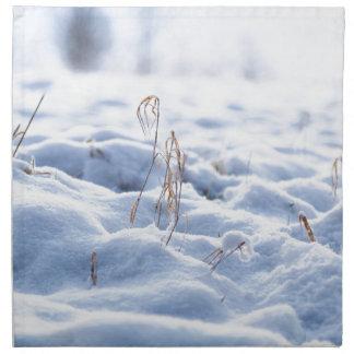 Snow on a meadow in winter macro napkin