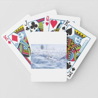 Snow on a meadow in winter macro poker deck