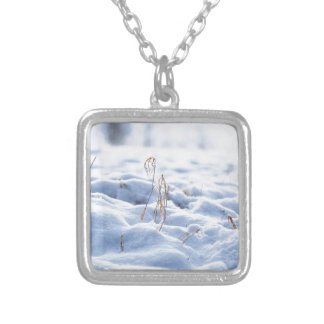 Snow on a meadow in winter macro silver plated necklace