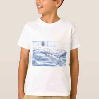 Snow on a meadow in winter macro T-Shirt