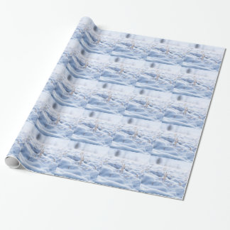 Snow on a meadow in winter macro wrapping paper