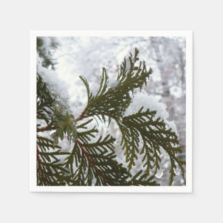 Snow on Evergreen Branches Winter Nature Photo Disposable Serviette