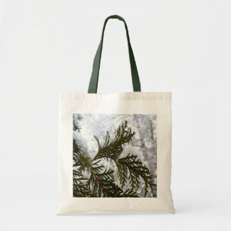 Snow on Evergreen Branches Winter Nature Photo Tote Bag