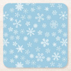Snow on Light Blue Background Square Paper Coaster