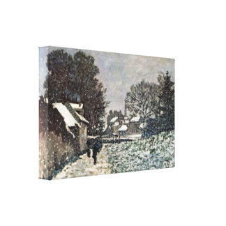 Snow on roads at Argenteuil by Claude Monet Stretched Canvas Prints