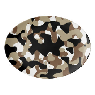 Snow open terrain  Camouflage Porcelain Serving Platter