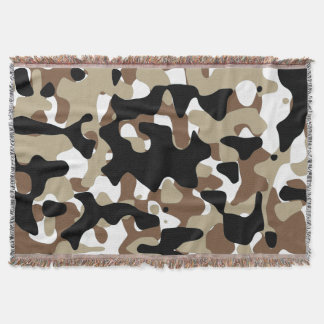 Snow open terrain  Camouflage Throw Blanket