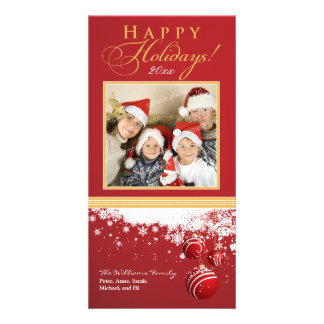 Snow Ornaments Family Holiday Photocard (red) Customised Photo Card