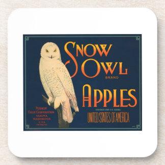 Snow Owl Brand Apples Vintage Crate Label Drink Coaster