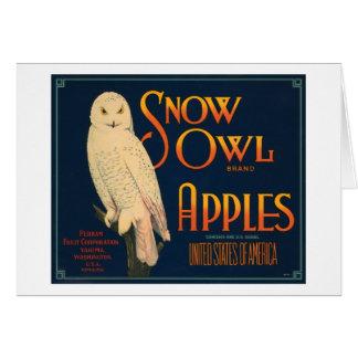 Snow Owl Brand Apples Vintage Crate Label Greeting Card