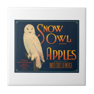 Snow Owl Brand Apples Vintage Crate Label Tile