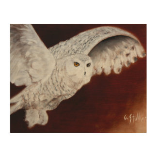 Snow Owl On The Hunt on wood Wood Wall Art