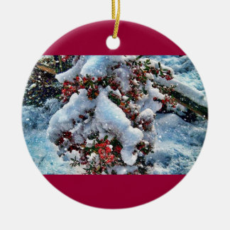Snow  pictures on an orniment round ceramic decoration